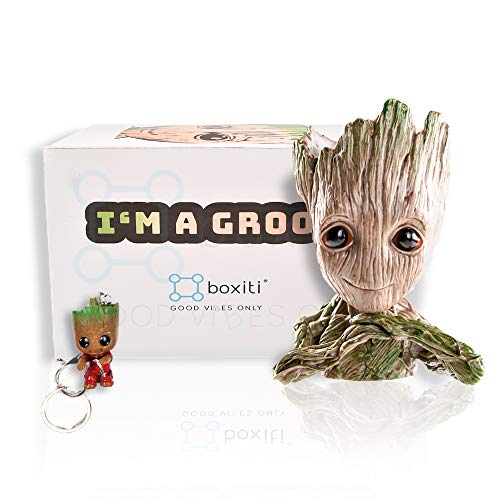 Boxiti Groot Pen Holders -Baby Groot Planter Ideal Gift - Guardian The Galaxy Pen Holders - Groot Flowerpot Baby Model Toy Comes Free Groot Key Ring (Model 2)