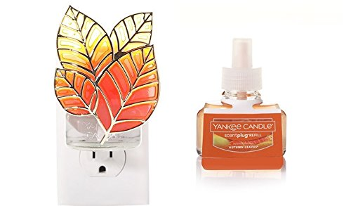 Yankee Candle Leaves Night Light Scent-Plug Diffuser Base with AUTUMN LEAVES Home Fragrance Electric Refill