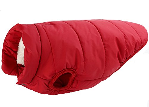Bonawen Fleece Dog Cat Coat with Leash Hole for Large/Medium/Small/Extra Small Pets (Red,XS)