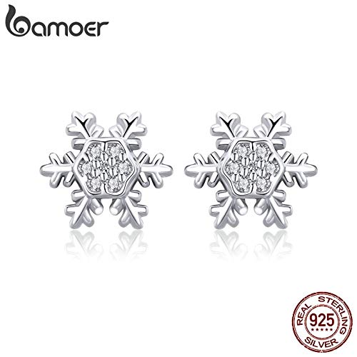 Trendy 925 Sterling Silver Winter Snowflake Exquisite Stud Earrings for Women Fashion Wedding Engagement Jewelry - Winter Silver Sterling Snowflake