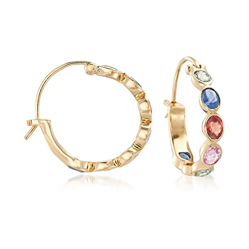 Ross-Simons 2.80 ct. t.w. Multicolored Sapphire Hoop Earrings in 18kt Yellow Gold Over Sterling (Multi Colored Sapphire Earrings)