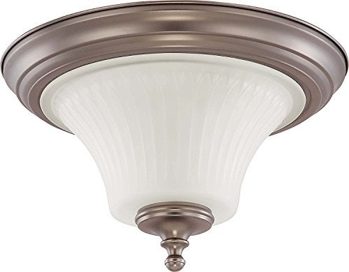 Nuvo Lighting 60/4021 Two Light Teller Medium Flush Dome with Frosted Etched Glass, CUL Damp Location, Aged Pewter