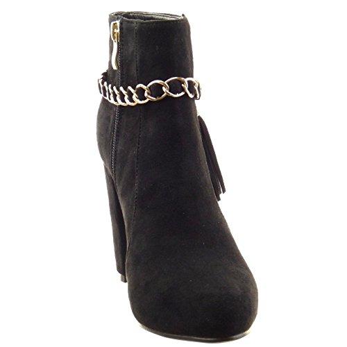 Sopily - damen Mode Schuhe Stiefeletten Kette - Schwarz