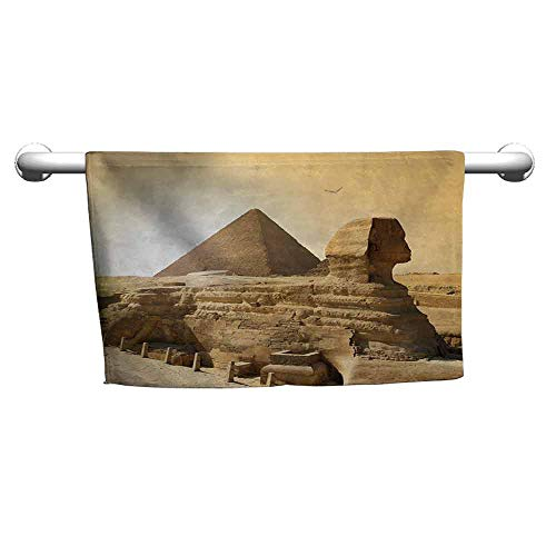 duommhome Ancient Soft Superfine Fiber Bath Towel Egyptian Pyramids Famous Great Landmark Wonders of The World Heritage View Print W8 x L23 Sand Brown