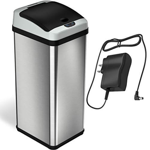 - iTouchless 13 Gallon Stainless Steel Touchless Trash Can with AC Adapter, Platinum Limited Edition, Odor Control System Kitchen Bin