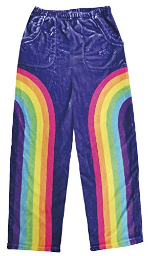 - iscream Big Girls Fun Print Silky Soft Plush Pants - Retro Rainbow, Large (14)