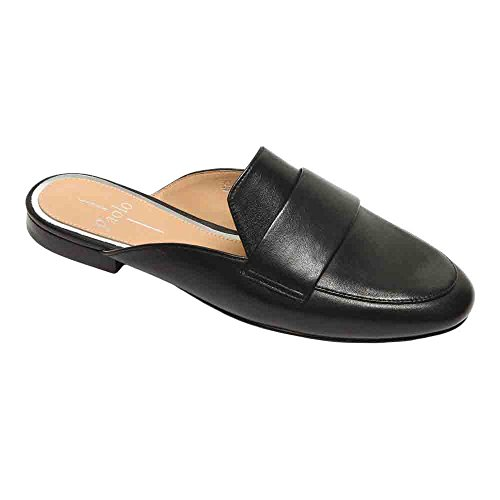 Linea Paolo Annie Women's Loafer - Open Back Slip-On Loafer Black Leather 7.5M (Annie Heels Suede)