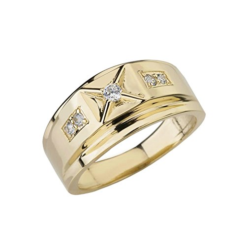 14k Yellow Gold Diamond Watch - Exquisite 14k Yellow Gold Diamond-Studded Men's Classy Domed Band (Size 8)
