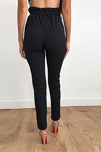 Black La Avec Taille Occasionnels Pantalons Cheville Ceinture Les Pantalons Haute Plisss RvwRq
