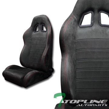 - Topline Autopart 2X Sp Sport Style Black Suede Red Stitch Reclinable Racing Bucket Seats+Slider T01