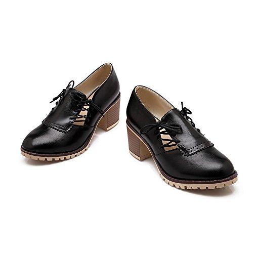 Lacet Noir Couleur Unie Matière Chaussures Agoolar À Femme Légeres Souple Talon Correct Rond wTZ84x7q