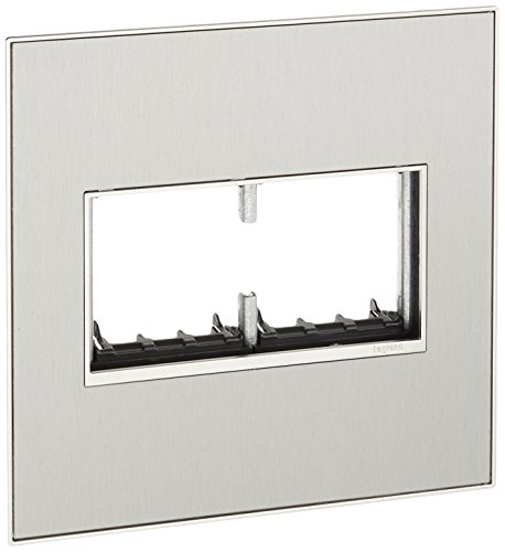 (Legrand adorne AWM2GMS4 2gang 2 module Brushed stainless Mirror Wall Plate, Silver)