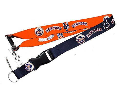 aminco York Mets Reversible Clip Lanyard Keychain Id Ticket Holder (Mets York Lanyard New)