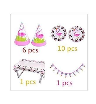 VPlus 18 Lot Cartoon Flamingo Thema Paket Happy Birthday Party Supplies Baby Waschen Dekoration Aktivit