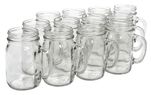 Glass Mason Jars With Handles (North Mountain Supply Glass Pint Mug Handle Mason Drinking Jars - Case of)