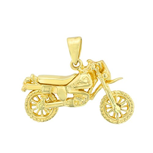 14k Gold Motorcycle (Solid 14K Yellow Gold Simple Motorcycle Bike Pendant)