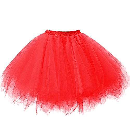 Ellames Women's Vintage 1950s Tutu Petticoat Ballet Bubble Dance Skirt Red (Red Adult Tutu)