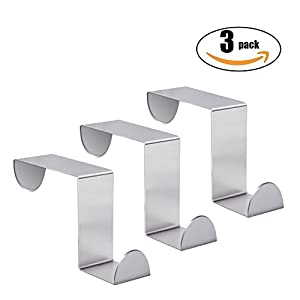 Over The Door Hook - Free Moving Adjustable Stainless Steel Hooks For Towels,Hats,Hand Bags,Kitchen,Bedroom,Drawer Saving Storage Space,Towel Coat Rack Hats (3 Pack)