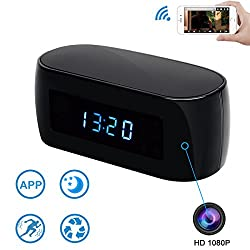 WiFi Mini Camera Clock-Pelay HD 1080P P2P Wireless Video Camcorder,2-Way Communication and Motion Detection,140 Degrees,Security Home Nanny Cam for iPhone,Android and PC APP Remote View