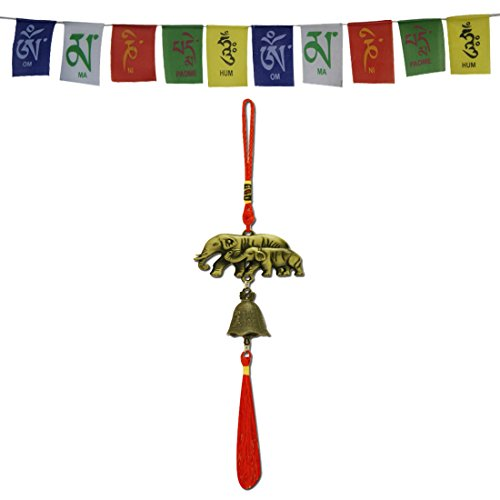 Divya Mantra Car Decoration Rear View Mirror Hanging Accessories Feng Shui Elephant Bell and and Tibetan Buddhist Prayer Flags for Car
