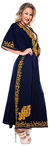 Da n422 Costume Coprire Delle Spiaggia Donne Kaftan Navy Kimono Bagno Leela Del Costumi Stilista Maxi La Lunga Blu wX0ET