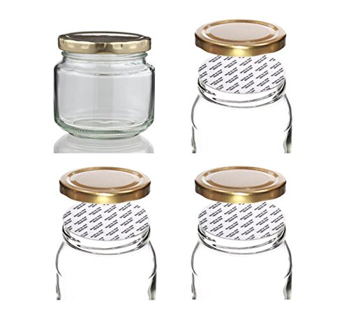 Withjenny Glass Storage Container Jars With Lids, 250ml Set Of 4, Heat Cut Shrink Clear Bands For Caps Sealed For Food Protection