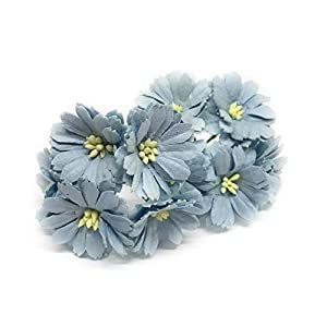 "1.5"" Blue Paper Daisies, Mulberry Paper Flowers, Miniature Flowers, Mulberry Paper Daisy, Paper Flower, Wedding Favor Decor, Artificial Flowers, 25 Pieces 113"