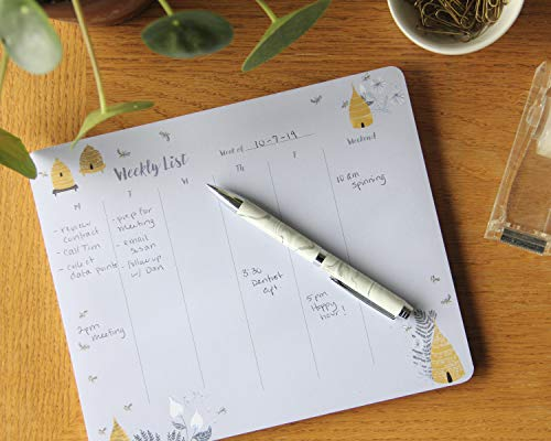 """High Note Weekly Planner Notepad - Garden Bee Desktop Planning Pad: Magnetic - 52 Tear-Off Sheets - 9"""" x 7.5"""" (1531905730)"""