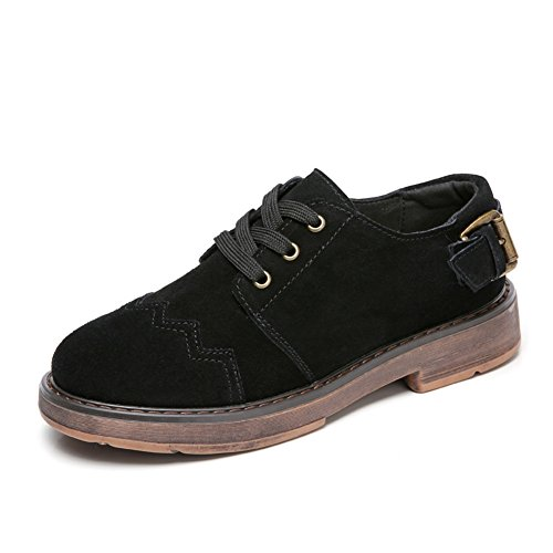 T-july Womens Oxfords Chaussures - Classique Bas Wedge Confortable Bout Rond En Daim Chaussures De Mode Noir