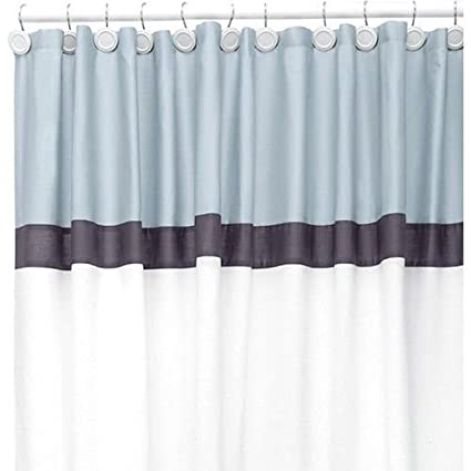 Canopy Color Wash Sky Blue Navy White Fabric Shower Curtain