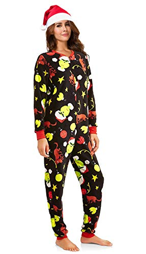 MJC Women's Christmas Pajama Set Grinch, Elf, Frosty, Rudolph Union Suit with Silky Santa Hat (Black, XS -
