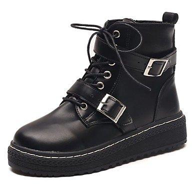 RTRY Zapatos De Mujer Botas Botas De Combate Caída De Goma Bajo El Talón Puntera Redonda Lace-Up Para El Exterior Negro Us7.5 / Ue38 / Uk5.5 / Cn38 US7.5 / EU38 / UK5.5 / CN38