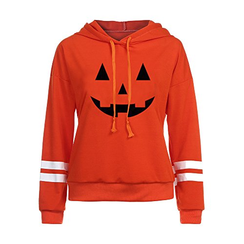 kaifongfu Halloween Hoodie Sweatshirt Women Jumper Pullover Tops Blouse (Orange, M) -