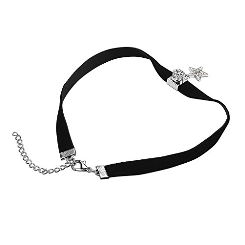 KnSam Ras du Cou Choker Velours Acier Inoxydable étoile Square Cristal Pendant Collier Argent Noir