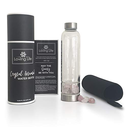 Loving Life Crystal Water Bottle with Rose Quartz and Clear Quartz Crystals. Crystal Elixir Water Bottle for Gemstone Healing (16oz Capacity)