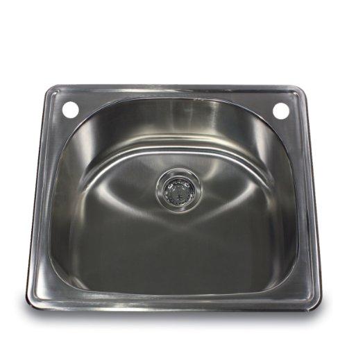 Nantucket Sinks NS2522-D 25-Inch 18-Gauge D-Bowl Single Bowl Self Rimming Drop-In Kitchen Sink, Stainless Steel