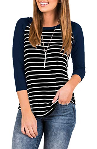 INFITTY Women's 3/4 Sleeve Raglan Striped T Shirt Round Neck Baseball Loose Blouse Tunic Tops Navy Blue X-Large