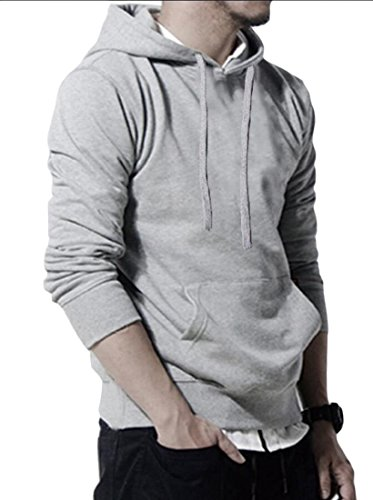 M&S&W Men's Casual Solid Hoodie Pullover Top Soft Long Sleeve Sweatshirts Light Grey