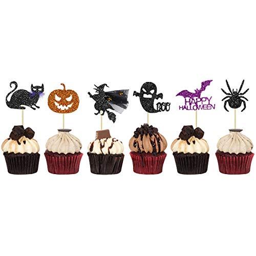 Spider Themed Halloween Party (36 Halloween Party Cupcake Toppers Picks Decorations Kit Cupcake Muffin Black Cat Spider Pumpkin Bat Ghost Witch Shape Food Picks Toppers for Halloween Party Supplies Themed Party)