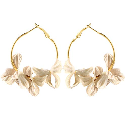 Super Cute Earing Fashion Fabric Flower Drop Earrings For Women 2019 Colorful Petal Circle Big Fancy Earring Jewelry,Beige