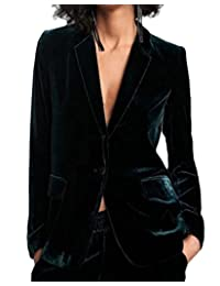 MOUTEN Womens Slim Fit Velvet One Button Business Dress Work Blazer Jacket Suit Coat