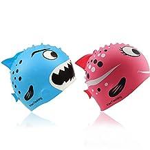 Kids Swim Cap, Pack of 2, Yeeteching Fun Design Silicone Toddler Swim Cap for Boys and Girls Aged 3-12