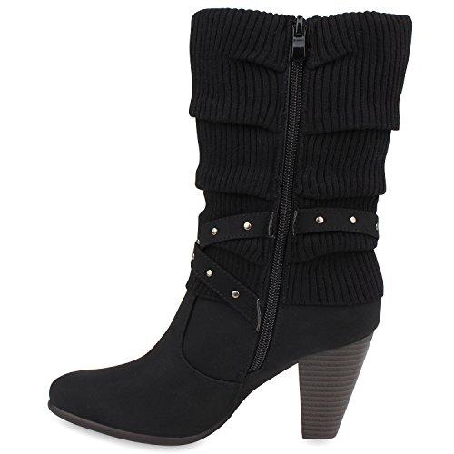avec heels Noir High tricot trichterabsatz en femme FInqwqWO8