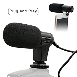 PLOTURE Camera Microphone, Video Interview Microphone Directional Recording Shotgun Mic with Shock Mount for iPhone/Andoid Smartphones, Nikon/Canon/Sony Camera/DV Camcorder Audio Recorder PC