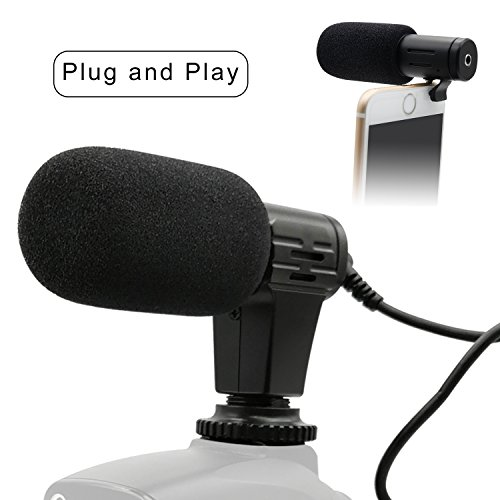 PLOTURE Camera Microphone, Video Interview Microphone Directional Recording Shotgun Mic with Shock Mount for iPhone/Andoid Smartphones, Nikon/Canon/Sony Camera/DV Camcorder Audio Recorder PC (MIC1) by PLOTURE