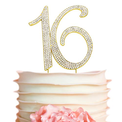 Sweet 16 GOLD Birthday Cake Topper | Premium Crystal Rhinestone Diamond Bling Gems | Monogram Number Sixteen | 16th Birthday Party Decoration Ideas | Perfect Keepsake for Sweet 16 (16 Gold) ()