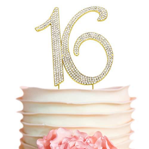 e0df53df996e Sweet 16 GOLD Birthday Cake Topper