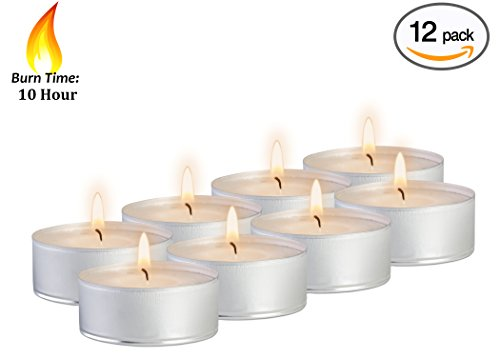 10 Hour Tea Light Candles - 12 Pack - White Unscented Travel, Centerpiece, Decorative Candle with Maxi Burn Time - Pressed Wax - By Ner - Candles Lasting Long Tea