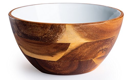 Wooden Bowl Colored (Casa Bellante Acacia Bowl. Colored Interior with Food Safe Finish. FDA Approved. 6 x 3in.)