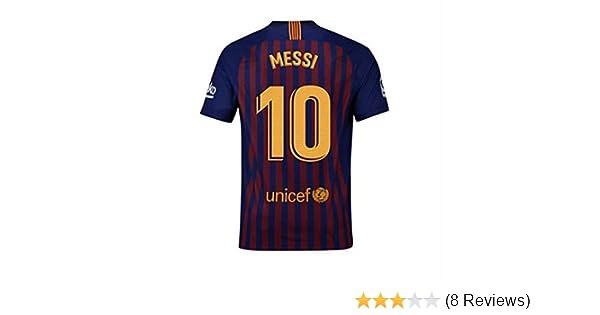 fca7cfc74dc Amazon.com  Nocopy-js 2018-2019 Barcelona  10 Messi Fans Soccer Jersey Mens  Home Color Red Blue  Clothing